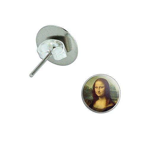 Da Vinci Et Costumes (Mona Lisa Painting by Leonardo da Vinci Novelty Silver Plated Stud Earrings)