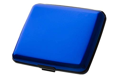 HONB Aluminum Wallet Credit Card Holder RFID Blocking Card Case Women Men (Aluminum Blue) (Alum Shell)