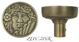 Art Nouveau Lady Face Vintage Door knob (ZLW-206K) by Vintage Hardware