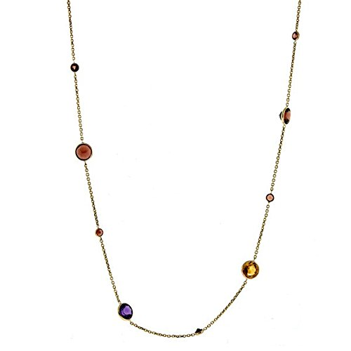 14k Yellow Gold Multi-color Stones Peridot Citrine Amethyst - 34 Inch Necklace