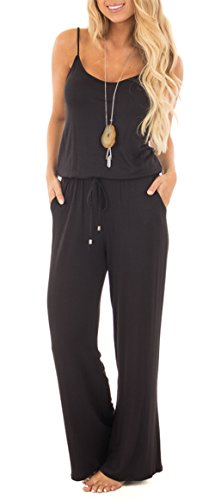 Jug&Po Women Casual Sleeveless Loose Wide Legs Jumpsuit Stretchy Srap Long Pants Romper With Pockets£¨Black Small£