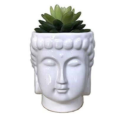 MONMOB 4.6Inch Ceramic Buddha Head Planter Pot Face Planter Zen Succulent Plant Pot Pen Holder Pencil Cup Brush Holder Pot Home Office Room Decor Multi-use(White): Garden & Outdoor