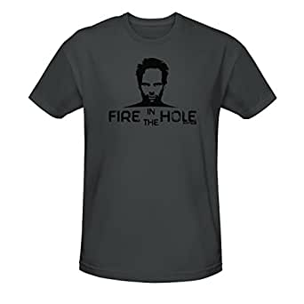 Justified Men's Fire In The Hole T-Shirt Charcoal Medium