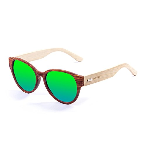 Ocean Sunglasses Cool Lunettes de soleil Bamboo Brown Frame/Wood Natural Arms/Revo Green Lens