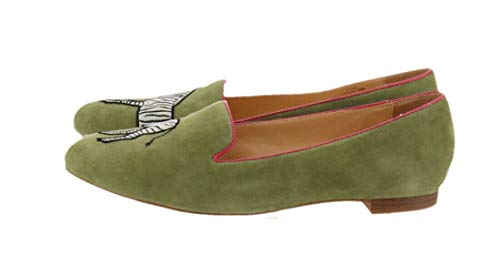 C. Wonder Zebra Embroidered Suede Loafers Cara Olive Zebra 5.5M New A276964 from C. Wonder
