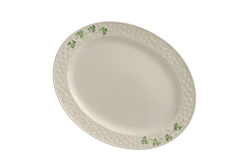 Belleek Pottery 1327 Shamrock 11.2-Inch Oval Platter, Small, White