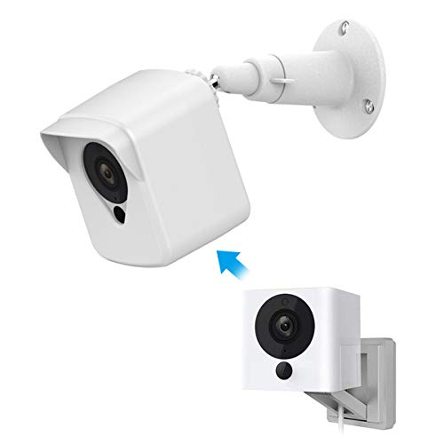 Wyze Cam Camera Wall Mount Bracket, Weather Proof 360° Protective Plastic Housing Cover Case and Adjustable Metal Mount for Wyze Cam V2 V1 and Ismart Spot Camera Indoor Outdoor (White(1 Pack))