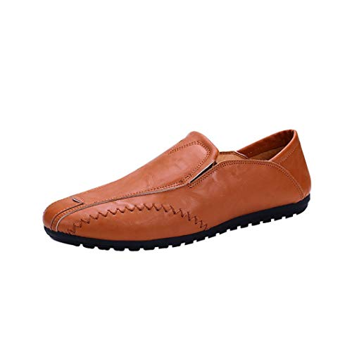 Finn Classic Clogs - FORUU Men Solid Color Round Toe Sewing Flat Heel Shallow Mouth Leather Shoes Yellow
