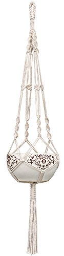 Mkono Macrame Plant Hanger Indoor Outdoor Hanging Planter Basket Cotton Rope 4 Legs 41 - Hanging Basket Plant