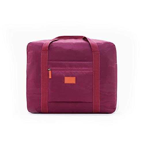 (Folding Travel Bag Nylon Travel Bags Hand Luggage Men Large Capacity Duffle Bag,Wine Red)