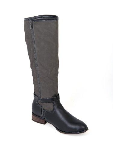 WOMENS LADIES KNEE HIGH LOW HEEL BUCKLE RIDING WINTER MILITARY BOOTS SIZES 3-8 Black Kz6DGqeWTN