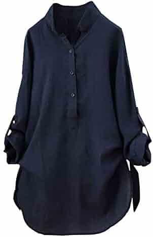 Women Cotton Blouse Plus Size,Solid Color Long Sleeve Tops Shirt Casual Loose T-Shirt Dress Blouse Button Down Tops