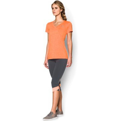 Under Armour Women's Tech Twist V-Neck, Cyber Orange /Metallic Silver, X-Small by Under Armour (Image #5)