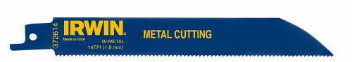 Reciprocating Industrial Metal Cutting Blade - IRWIN Tools Reciprocating Saw Blade, Metal-Cutting, 6-Inch 14 TPI, 5 Pack (372614P5)