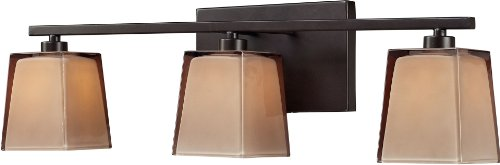- Elk 11438/3 23 by 7-Inch Serenity 3-Light Bathbar with Tan Cubic Glass Shade, Oiled Bronze Finish