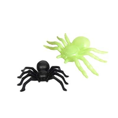 ECYC 50Pcs Plastic Black Spider Halloween Funny Prank Toys Decoration Realistic Prop, 0.8