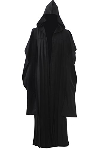 Allten Mens Costume Darth Maul Black Tunic Hooded Robe Cloak