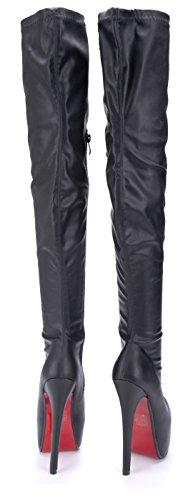 Schuhtempel24 Damen Schuhe Overknee Stiefel Stiefeletten Boots Stiletto 16 cm High Heels Schwarz