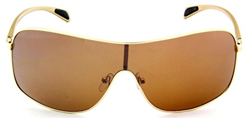 Sturgeon Men's Polarized Shield Aluminum Sunglasses Spring Hinge w/ Free Pouch-Polished - Polarize Shield