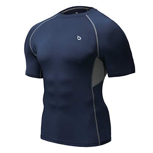 Baleaf Men's Short Sleeve Compression Shirt Cool Dry Workout Athletic Base Layer Navy/Grey Size L