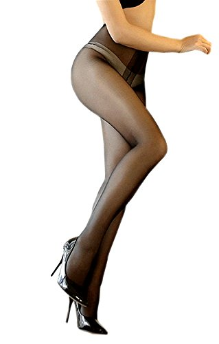 Kffyeye 12D Ultra Shimmery Plus Footed Sheer Pantyhose, High Waist Open Crotch Shiny Silk Stockings Tights (Black)