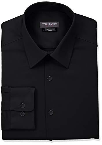 Van Heusen Men's Flex Collar Slim Fit Stretch Dress Shirt, Black, 15.5