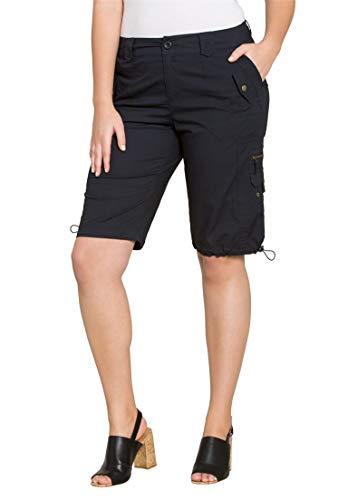 Roamans Womens Plus Size Cargo Shorts With Adjustable Bungee Hem