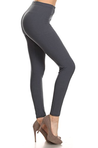 Leggings Depot Ultra Soft Basic Solid Plain Best Seller Leggings Pants (One Size (Size 0-12), Charcoal Grey)