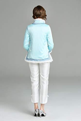 Moda Blue Tang Real Light Traje De Cuello Abrigo Piel En A Lujo Wtug® Algodón Chaqueta Bordado Mano Mujeres Forrada Chino Corto Cheongsam q17IBRwC