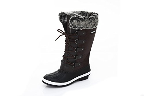 Boots Tall Storm up Snow Brown Closure Womens Insulated Sand Comfortable Weatherproof Lace Winter 7nqIXWOd
