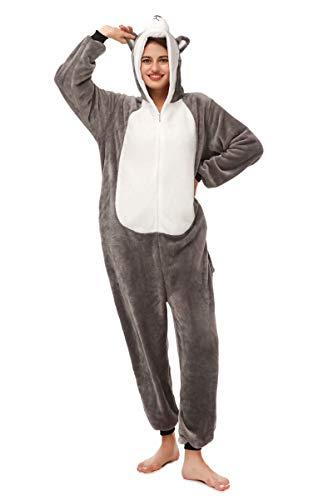 Animal Onesie Cartoon 3D Grey Husky Costume Pajamas for Adults ()