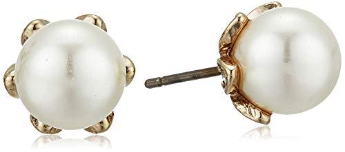 Marchesa Women's Cream Silk 8mm Stud Earrings, Gold Cream Silk, One Size ()