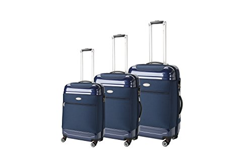 Upright Navy Large Rolling Luggage - Brio Luggage Hybrid Hardside and Softside Expandable Suitcase Set #AE1116 (Navy)