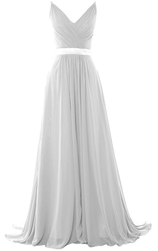 MACloth Women V Neck Mid Open Back Long Bridesmaid Dress Formal Evening Gown Blanco