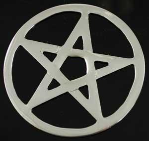 AzureGreen RPEN4 4 in. Pentagram Altar Tile (Pentacle Altar Silver Tile)