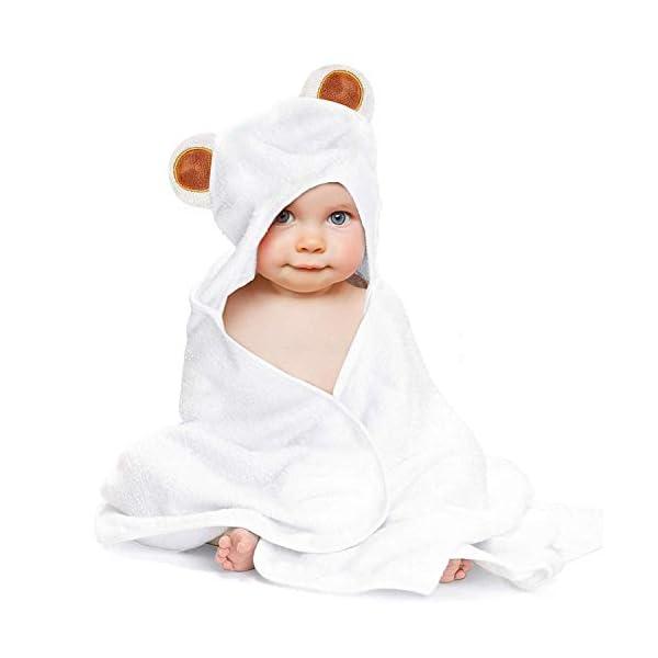 LATTCURE Accappatoio Neonato, Telo da Bagno Asciugamano per Bambini con Cappuccio Animale in Fibra di Bambù 90x90cm… 1
