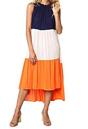 PRETTYGARDEN Women's Summer Sleeveless Color Block Patchwork Pleated Elastic Crew Neck Loose Midi Dress (Orange, Medium)