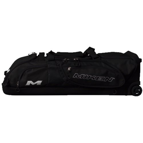 Miken Sports Pro MKBG18-WB-BLK Wheeled Bag Individual Bat Areas, Holds 4 Bats, ()