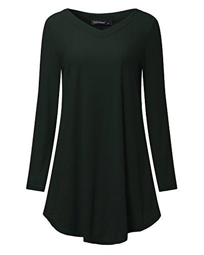 Green Tunic Sweater (StyleDome Women's Knit Sweater Casual Swing V Neck A-Line Long Sleeve Dress (XL, Dark Green))