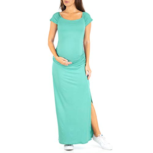 Women's Shortsleeve Ruched Bodycon Maternity Dress with Side Slits - Made in USA Aqua