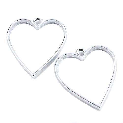 Pandahall 10pcs Alloy Heart Open Back Bezel Pendants Rack Plating 34x30.2x3.7mm Hollow Frame Pendants Lead Free & Nickel Free for DIY Resin Pressed Flower Jewelry (Silver)