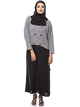 Look Style LS10050b Abayas for Women, Black/grey