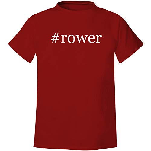 #rower - Men's Hashtag Soft & Comfortable T-Shirt, Red, Medium (Best Rowers On The Market)