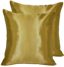 16'' X 16'' Thai Vintage Silk Handmade Throw Pillow Case Cover Sofa Cushion Gold Brown