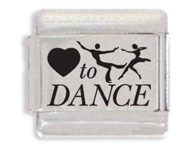 Heart To Dance Laser Italian Charm Bracelet Link (Dance Italian Charm Bracelet)