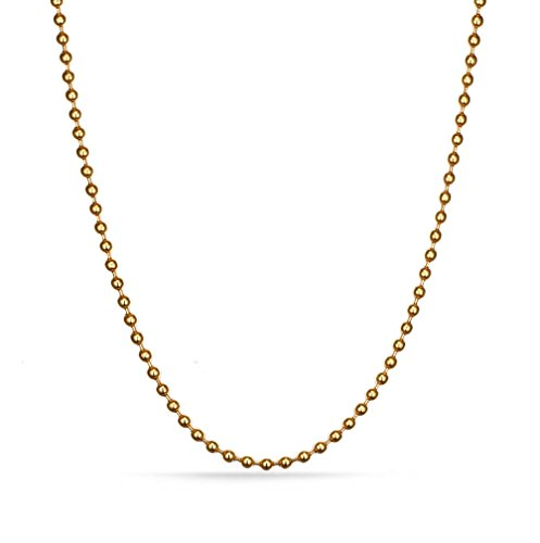 Chain Two Tone Necklace (Stainless Steel Bead Ball Chain Necklace for Men Women Pendant Accessory Chain 2.4mm,Gold,24