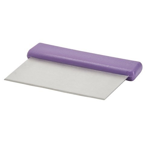 Winco DSC-2P, Allergen Free Dough Scraper with Stainless Steel Blade, Dough Cutter and Chopper with Purple Polypropylene Handle