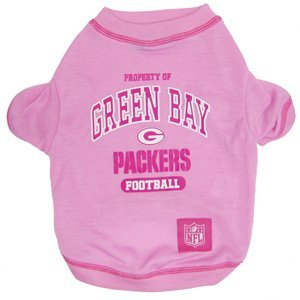 Pets First NFL Green Bay Packers Tee Shirt, Small, Pink