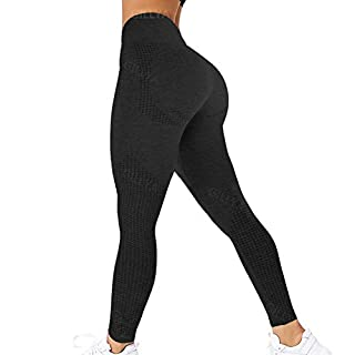GILLYA Seamless Gym Workout Leggings Women High Waisted Vital Yoga Pants Tummy Control Butt Lift Sport Tights (#1 Dot Contouring-Black, Small)