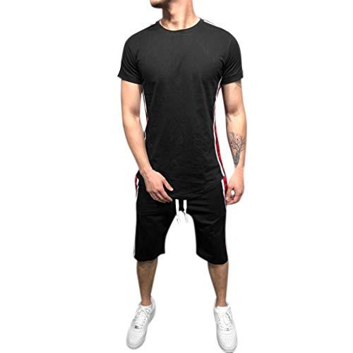 Men's Summer Jogging Sets,Leegor Short Sleeve Tops+Short Pants
